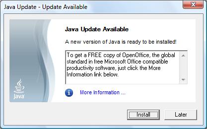 Java Update Dialog